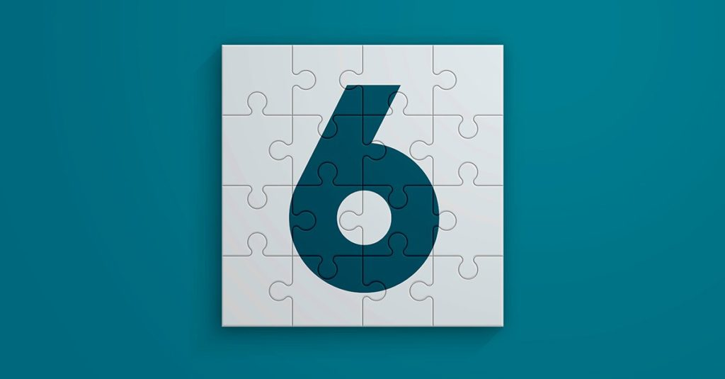 Puzzle pieces forming the Number 6. Designed with the color of the year. Horizontal composition with copy space.